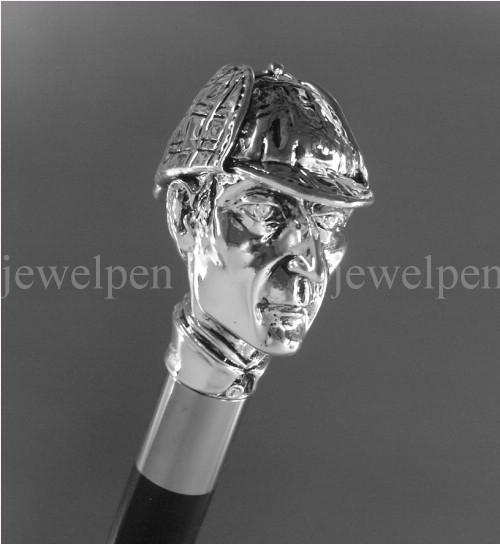 Silver Walking Stick Sherlock Holmes 925 Sterling Silver